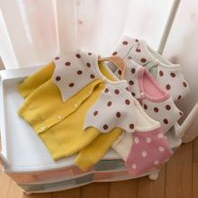 女寶寶秋季新款毛線衣開衫外套代發女童韓版大領毛衣開衫代發1139