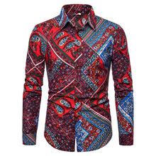 wish 亚马逊爆款新款民族风碎花男士大码长袖衬衫时?#34892;?#36523;衬衣