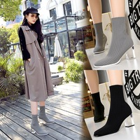 9789-1 Korean fashion transparent crystal heel winter short women's boots comfortable and versatile show thin wool short boots