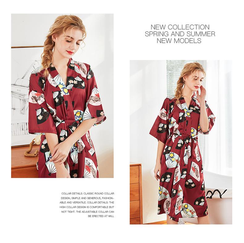 silk  pajamas ladies  summer fashion  long  gown pajamas wholesale nihaojewelry NHJO221795