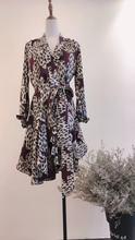 v領氣質絲綢豹紋星星印花不規則下擺顯瘦綁帶收腰一片式連衣裙
