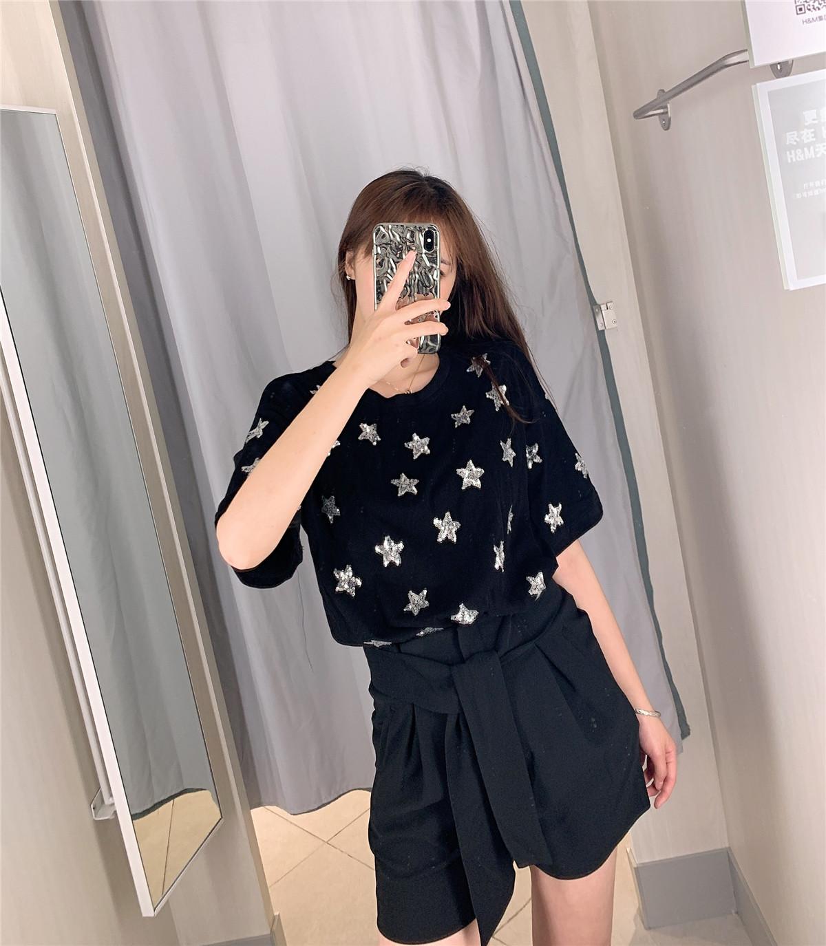 Three-dimensional star sequins loose half-sleeved T-shirt NHDS121875
