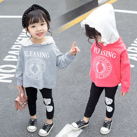 spring new lace hooded sweater long-sleeved female baby shirt foreign children's clothing