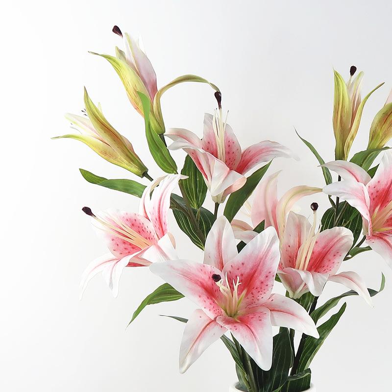 仿真百合花束单支高档欧式淡雅客厅落地室内装饰插花摆件塑料假花