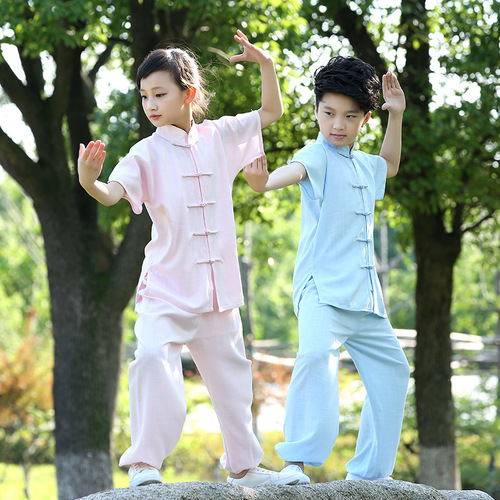 Children Wushu taichi performance wear long sleeve cotton chinese Kung fu costumes for boys and girls martial arts training suits