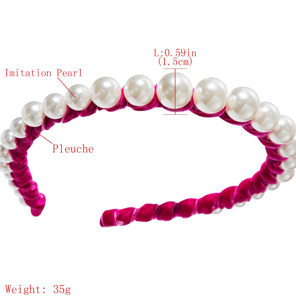 New fashion gold velvet headband women's single row big pearl super fairy headband NHJE174285