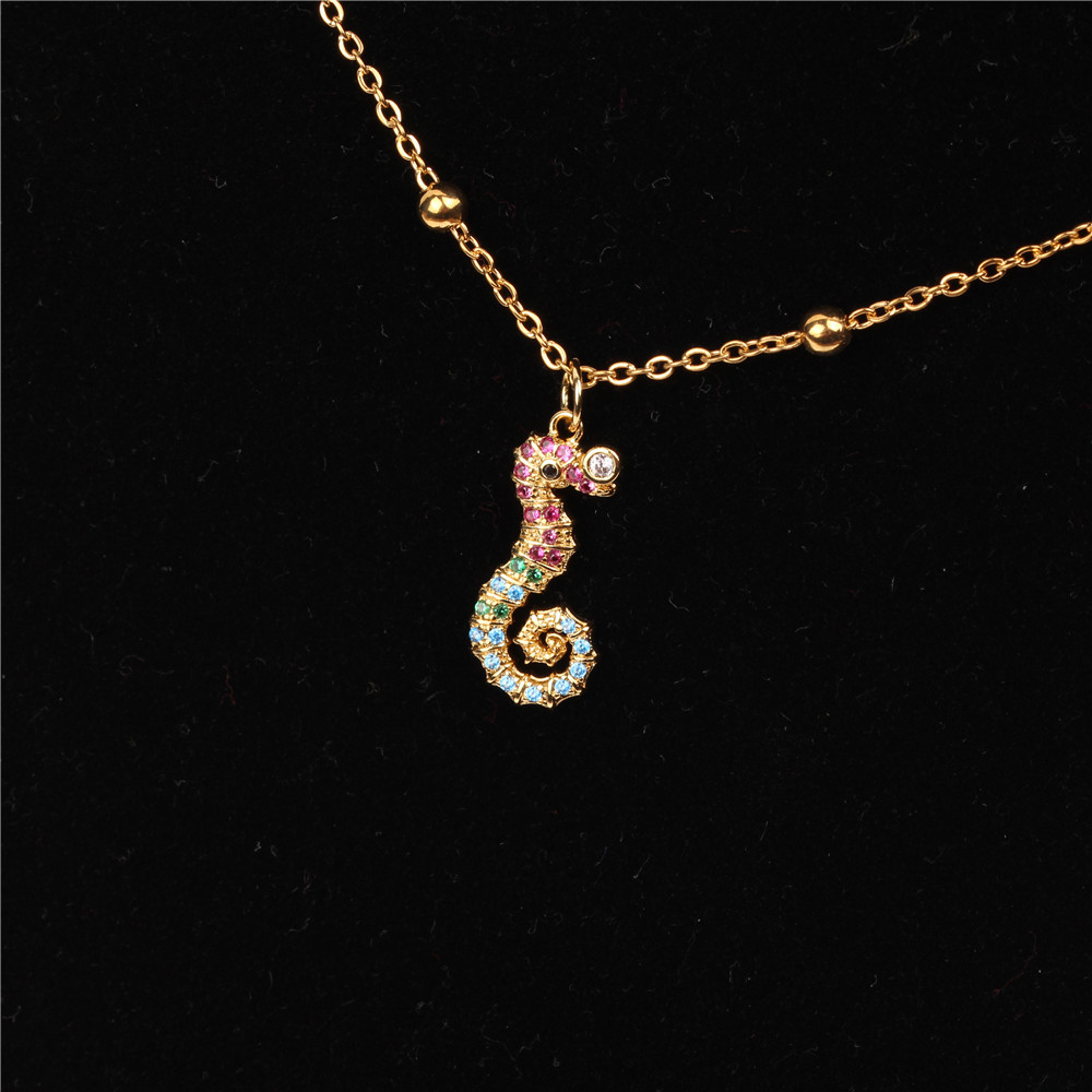 Seahorse cute marine element micro-set rhinestone necklace NHPY127937