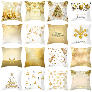 18'' Cushion Cover Pillow Case Christmas gold snowflake peach skin cushion cover sofa cushion cover customization
