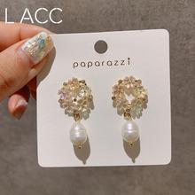 小清新精致貝殼花925銀針耳釘韓國代購簡約鏤空花朵水鉆耳環耳飾