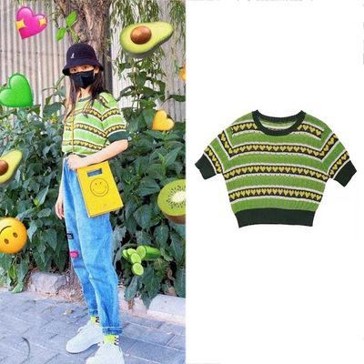 火箭少女101微博杨超越同款果绿色爱心条纹针织衫短袖T恤上衣潮