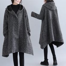 秋冬新款韩版时尚加绒宽松呢子大衣中长款?#36824;?#21017;大码女装毛呢外套