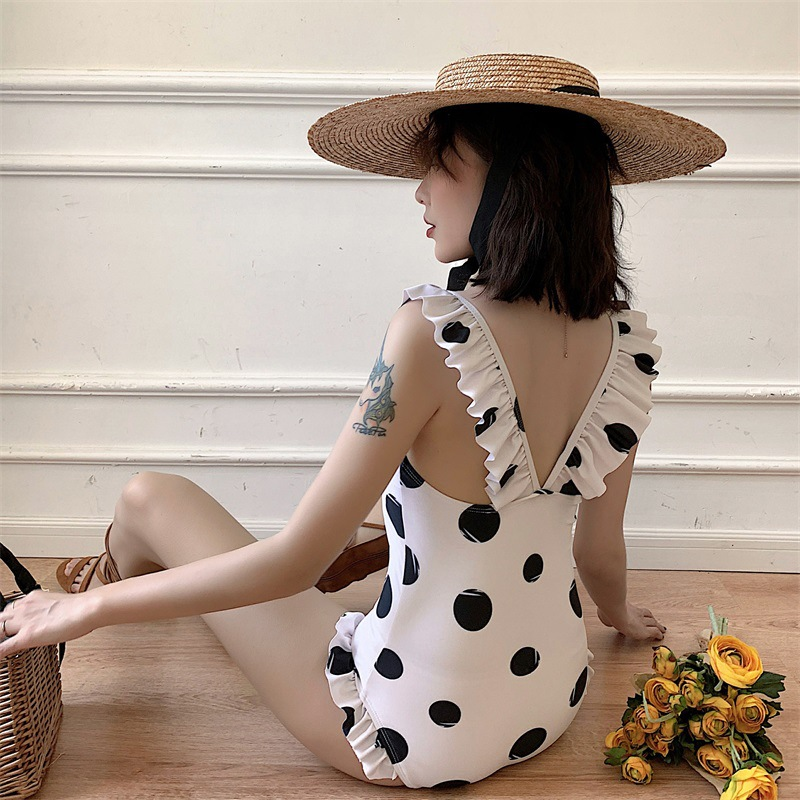 New spot printing conservative conservative thin cover belly hot spring vacation lotus leaf one-piece swimsuit women NHHL198876