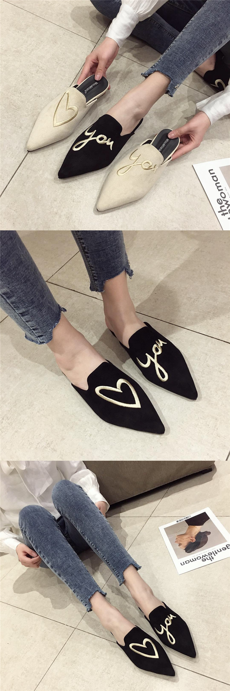 Spring new style pointed embroidered Baotou flat bottom Mules shoes NHHU198545