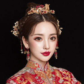 Mother's headdress style Phoenix crown wedding ancient hair set Xiuhe kimono Dragon Phoenix jacket accessories