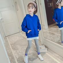 2019童装秋季新款韩版女童假两件连帽卫衣长裤两件套儿童纯棉套装