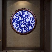 景德鎮手繪青花纏枝蓮瓷板畫實木框壁畫掛畫家居客廳書房裝飾擺件