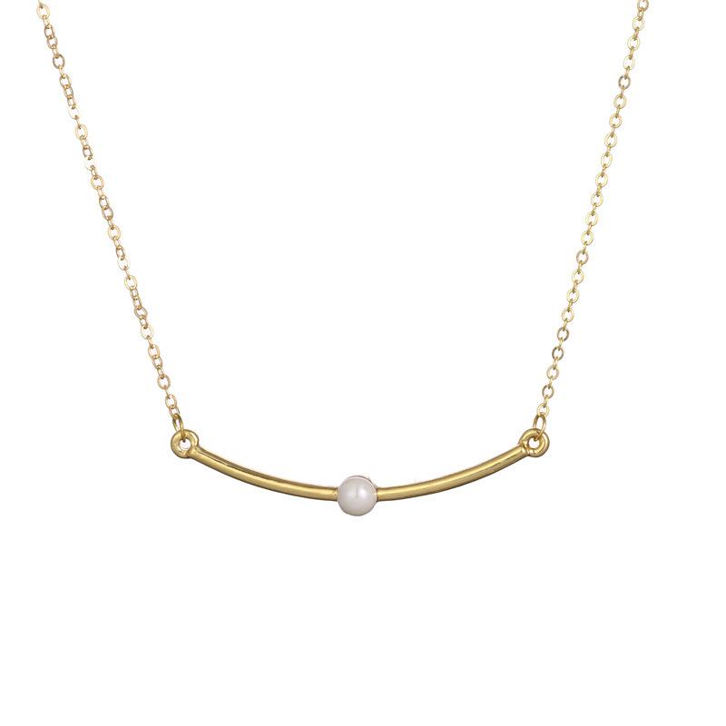 Collar geométrico curvo superventas con collar de perlas y cadena de clavícula NHCU196686
