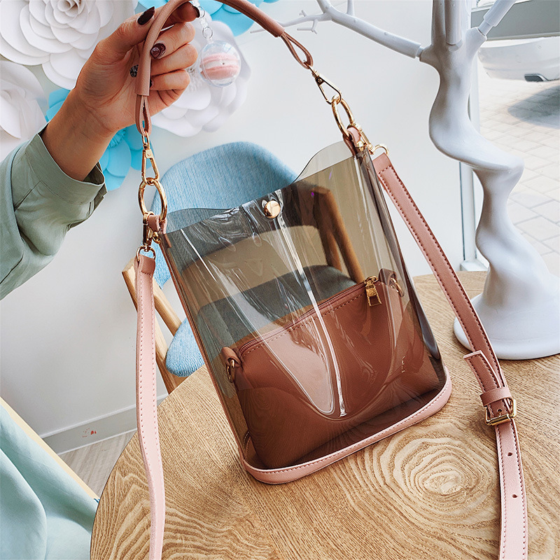Women's Bag Laser Transparent Bucket Bag Shoulder bag