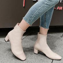 2019冬季新款真皮靴子方頭粗跟低跟短靴簡約百搭拼接短靴.