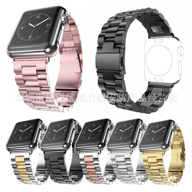 适用于apple watch苹果不锈钢表带iwatch弹弓扣三珠链式表带钢带