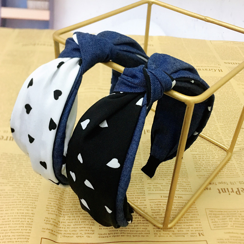 Korean new hair accessories simple middle knot headband hit color wave point hair hoop women NHRH198775
