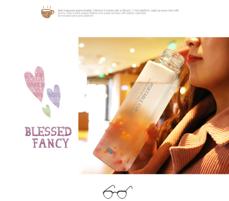 Student frosted large-capacity water bottle square cup portable drop-resistant plastic cup NHtn202089