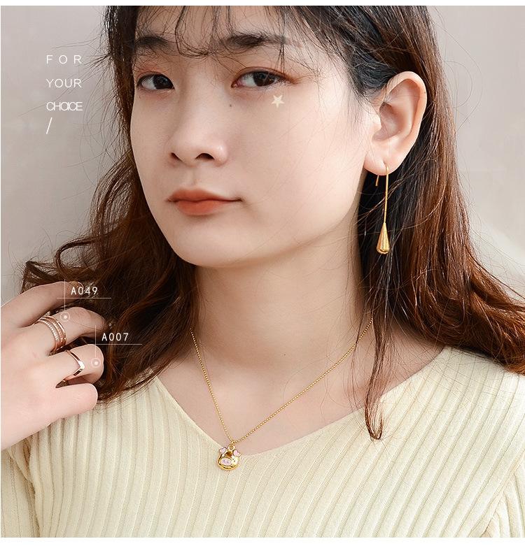 Titanium&Stainless Steel Fashion Geometric earring  (Rose alloy)  Fine Jewelry NHOK0513-Rose-alloy