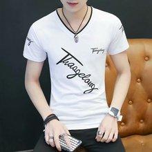 短袖t恤男夏季潮流修身短袖t恤青年韩版V领T恤印花斜英文上衣体恤