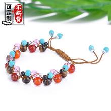 日韓新款手工編織天然石手鏈瑪瑙水晶吊墜手串氣質女手飾品可調節