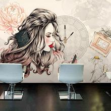 3d工作室化妝品店鋪墻紙歐式ins網紅店美容院美甲店商場裝修壁畫