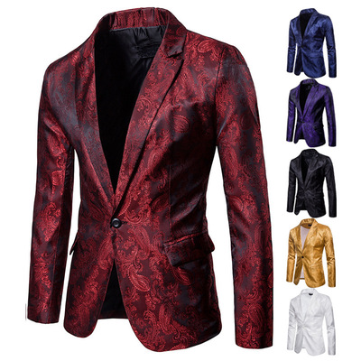Men's jazz performance suit blazers groomsmen jacket  Men's palace style dark grain design one button with men's West suit