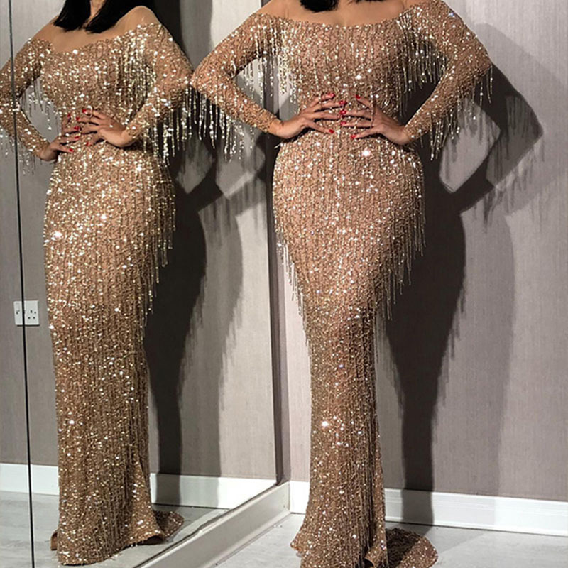 Autumn and winter 2020 European and American foreign trade women's dress Dunhuang Amazon sexy sequins tassel slim dress dress new style