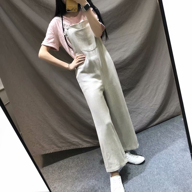 Fashion cotton and linen pocket wide leg jumpsuit NHAM149667