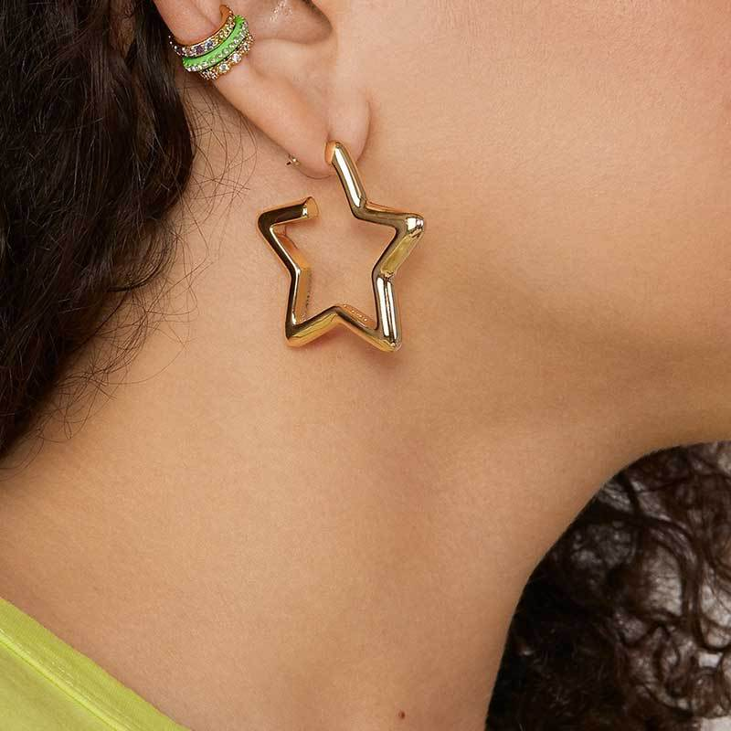 Jewelry fashion five-pointed star earrings gold-plated earrings for women NHOT180485