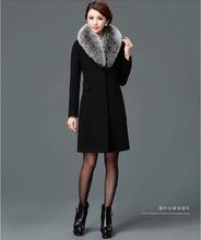 跨境新款毛呢女大衣欧美中长款呢子毛领风衣外套eBay代发速卖通