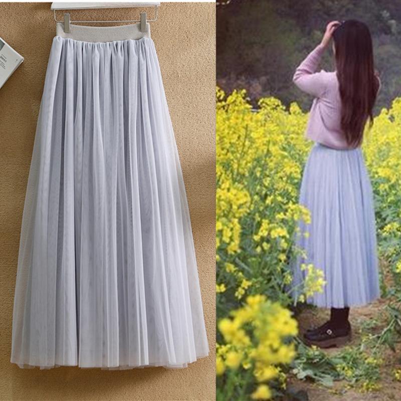 新款春款纱裙半身裙中长款高腰网纱裙白色新款黑色显瘦百褶纱裙