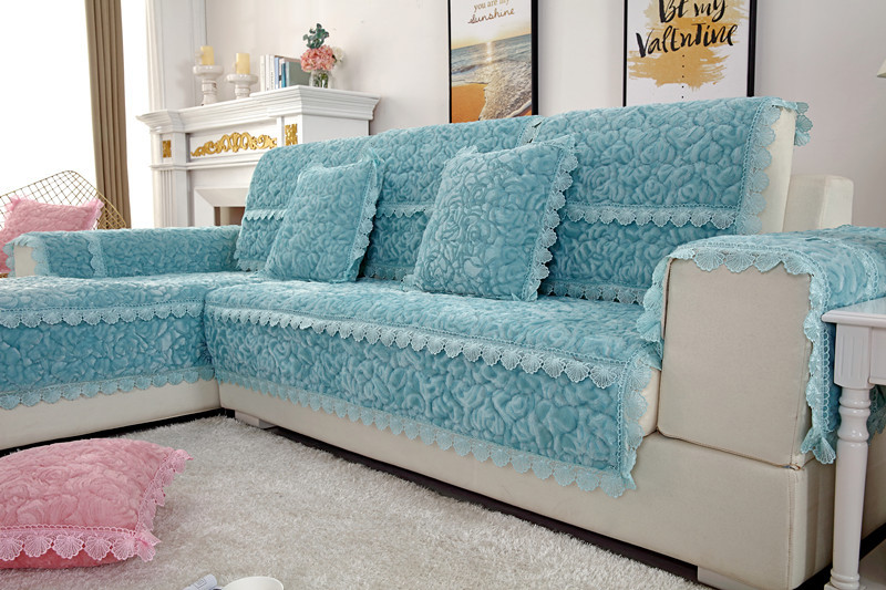 Thick Slip Resistant Couch Cover for Corner Sofa Made with Plush Fabric Including Lace for Living Room Decor 23