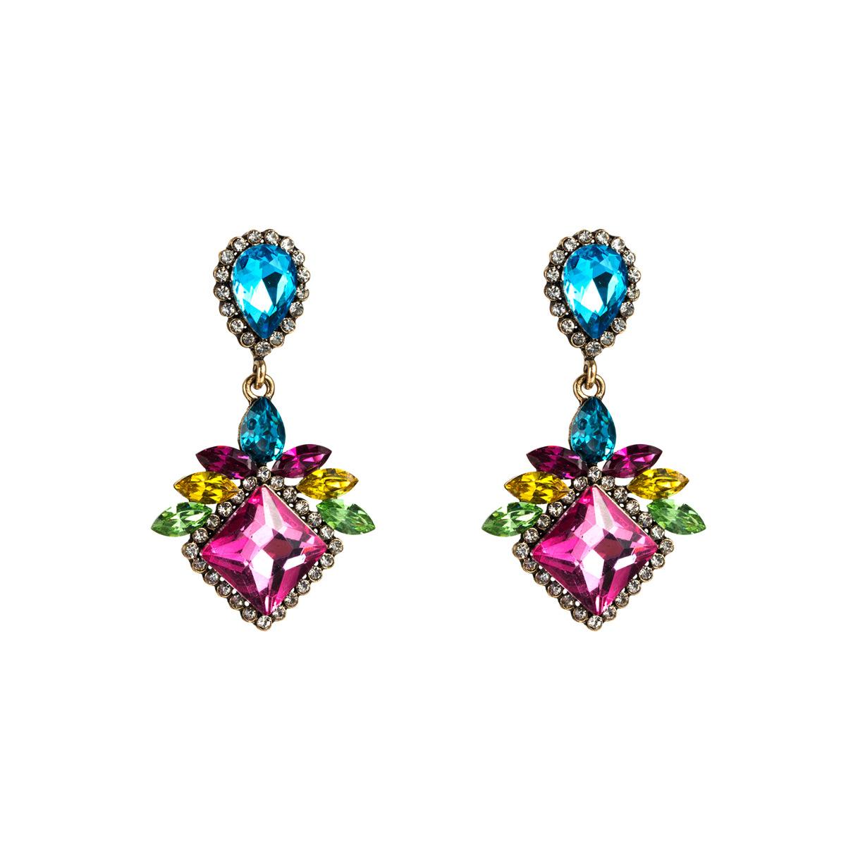 Drop-shaped square rhinestone earrings NHJE142071