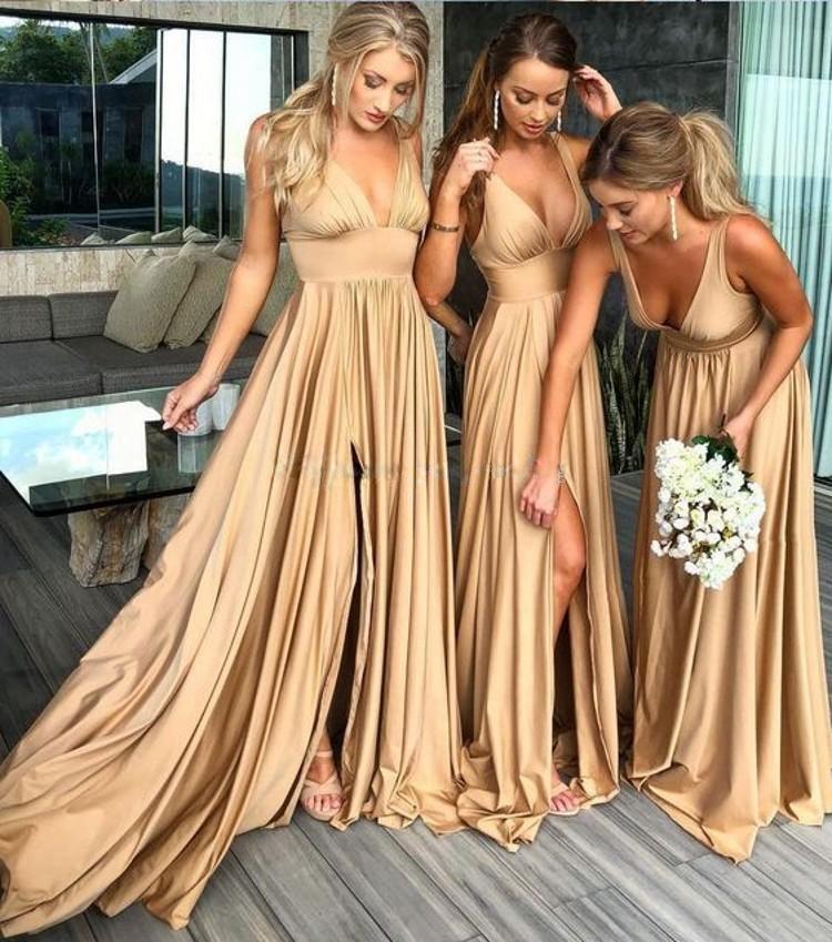 Summer European And American Women's Wear Sling Deep V Dress Bridesmaid Dress