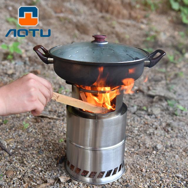 凹凸户外野营炉头不锈钢柴火炉便携野餐烧烤炉跨境批发定制AT6319