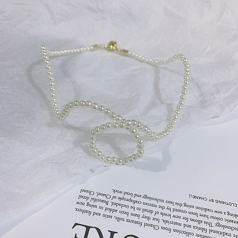 Abstract flowing cloud shape exaggerated pearl necklace choker NHYQ191066