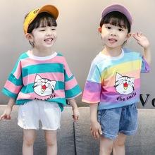 女宝宝短袖t恤2019新款纯棉宽松上衣小童洋气韩版宝宝半袖女童T恤
