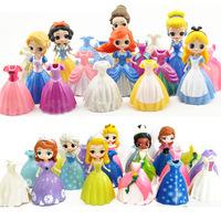 新品6款爱丽丝贝儿苏菲亚公主冰雪奇缘可换装公仔儿童过家家玩具