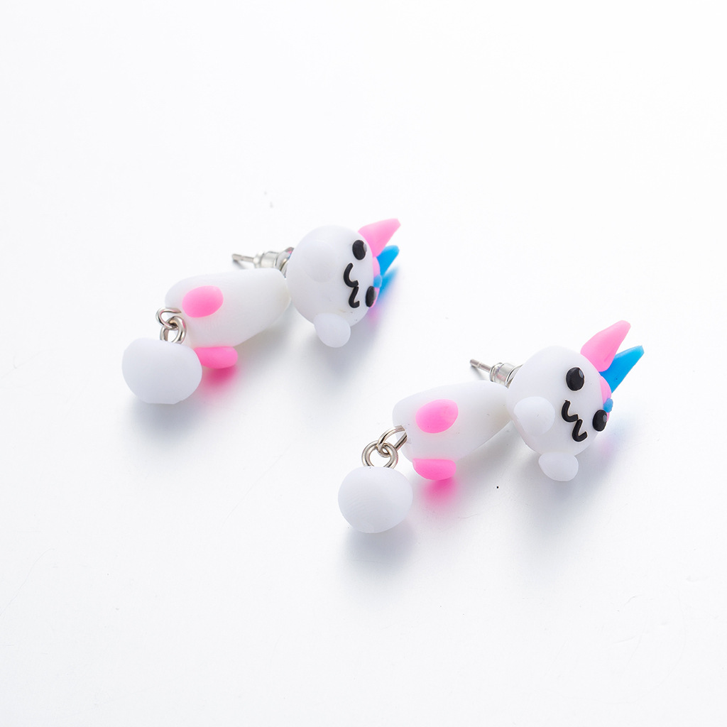 Creative handmade cute color rabbit soft clay earrings NHGY146993
