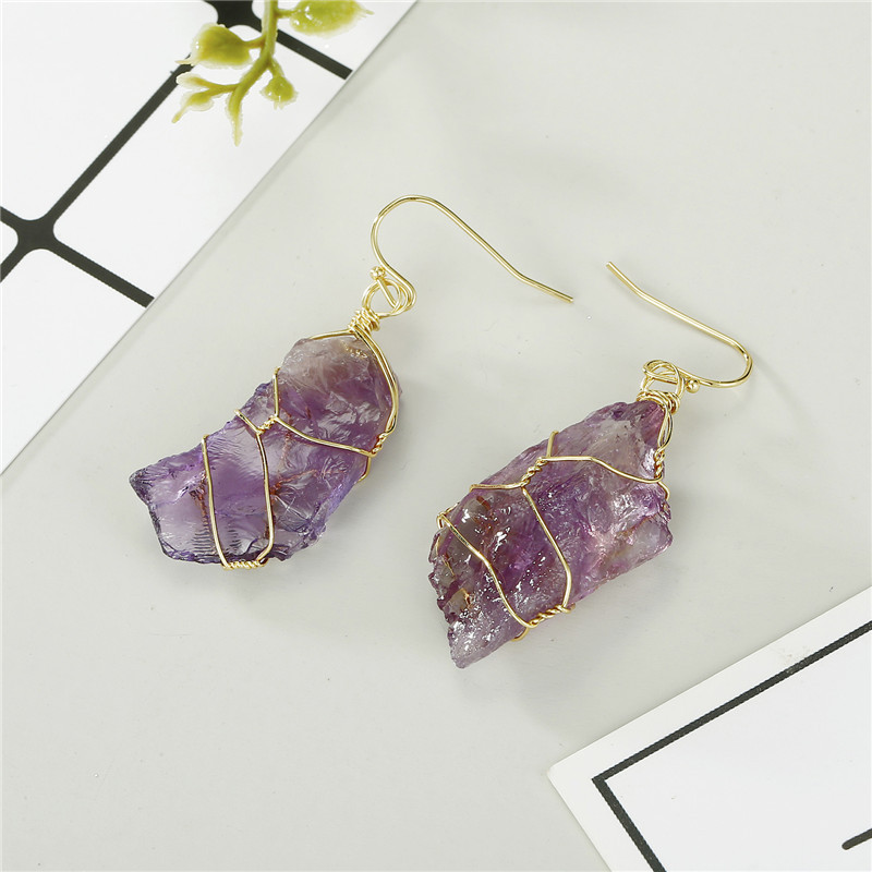 Jewelry winding natural stone earrings handmade crystal bud earrings crystal fluorite earrings NHGO196169