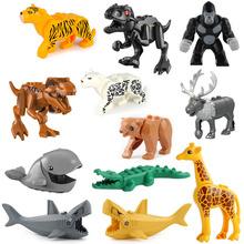 動物積木鱷魚奶牛鯊魚黑豹老虎兒童啟蒙拼插益智早教積木玩具禮物
