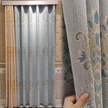 厂家直销珍珠麻料色织提花窗帘布欧式客厅卧室遮光窗帘可加工成品