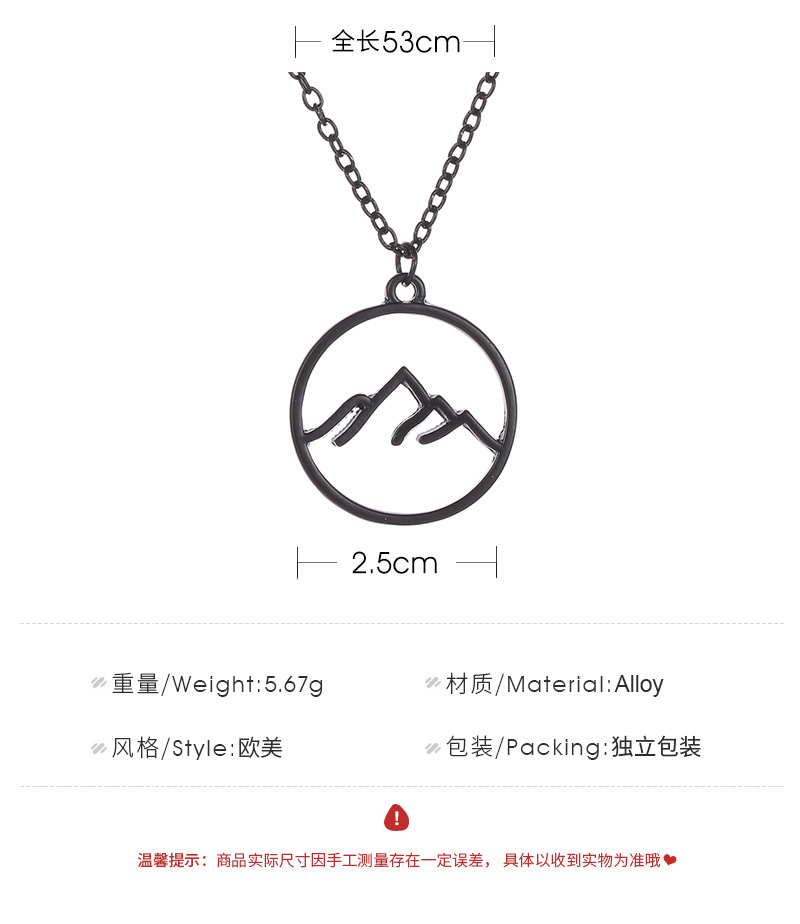 Necklace Round Hollow Necklace Pendant Fashion Mountain Folded Mountain Geometric Hollow Necklace NHMO217611