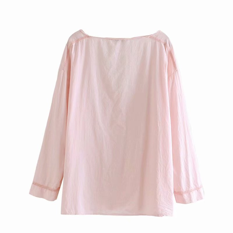 Wholesale new women's frill decoration V-neck shirt NHAM186178