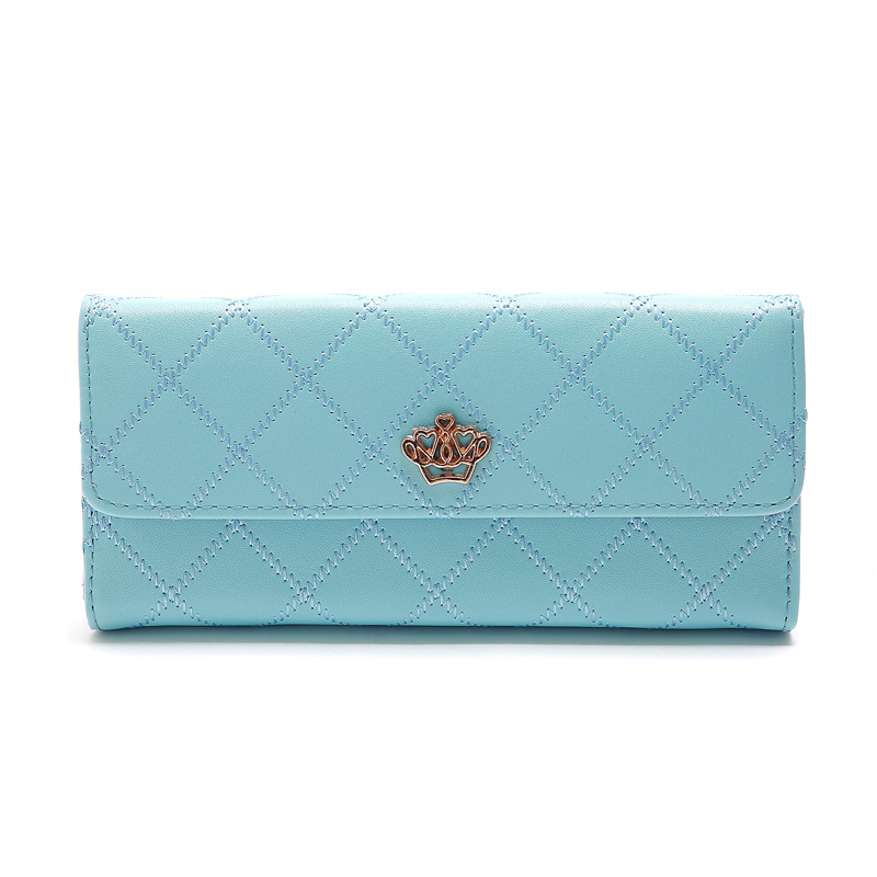 Korean candycolored embroidery thread crown trifold womens wallet clutch bag card bag NHLAN337255